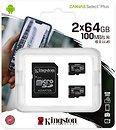 Фото Kingston Canvas Select Plus microSDXC Class 10 UHS-I U1 2 x 64Gb (SDCS2/64GB-2P1A)