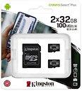 Фото Kingston Canvas Select Plus microSDXC Class 10 UHS-I U1 2 x 32Gb (SDCS2/32GB-2P1A)