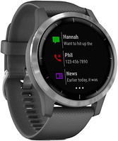 Фото Garmin Vivoactive 4 Silver Stainless Steel Bezel with Shadow Gray Case and Silicone Band
