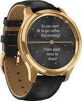 Фото Garmin Vivomove Luxe 24K Gold PVD Stainless Steel Case with Black Embossed Italian Leather Band