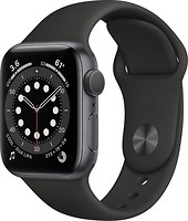 Фото Apple Watch Series 6 GPS 44mm Space Gray Aluminum Case with Black Sport Band (M00H3)