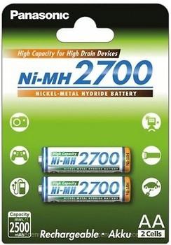 Фото Panasonic AA 2700mAh NiMh 2 шт High Capacity (BK-3HGAE/2BE)