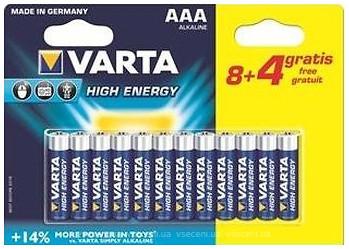 Varta AAA Alkaline 8+4 шт High Energy (04903121472)