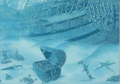 Фото БерезаКерамика декор Лазурь Корабль 7 бирюзовый 25x35