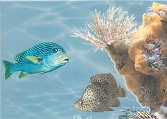 Фото БерезаКерамика декор Лазурь Морской мир 5 бирюзовый 25x35
