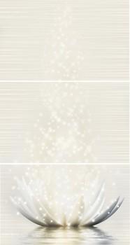 Фото Golden Tile декор-панно Magic Lotus кремовый 40x75 (GT017P) (комплект 3 шт)