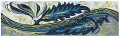 Фото Golden Tile фриз Александрия голубой 6x20 (В13331)