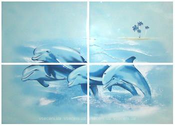 Фото БерезаКерамика декор-панно Лазурь Дельфины бирюзовый 50x70 (комплект 4 шт)