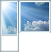 Фото Балконный блок VEKA 1250х1450 1-ств. (глухое) 1-кам. + 700х2150 (пов.-отк.)