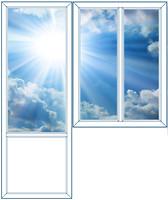 Балконный блок Rehau 1150х1550 2-ств. (глухое) 2-кам. + 750х2100 (пов.-отк.)