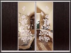 Zevs Мебель Шкаф-купе четырехдверный Стандарт ДСП+Пескоструй+Пескоструй+ДСП 3200x450x2100