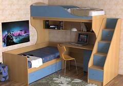 Фото Merabel Двухъярусная кровать с рабочей зоной (ал1)