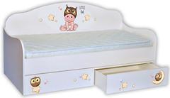 Фото Mebelkon Кроватка-диванчик Мальчик-совенок 80x170 с ящиком и бортиком