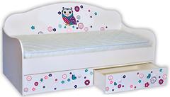 Фото Mebelkon Кроватка-диванчик Сова цветная 80x160 с ящиком
