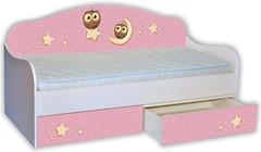 Фото Mebelkon Кроватка-диванчик Сова на розовом 80x160 с ящиком и бортиком