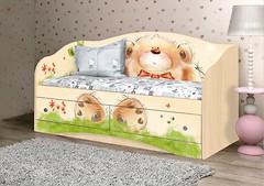 Фото Вальтер-мебель Мишка с букетом диванчик 70x140