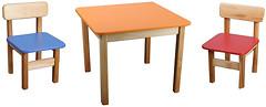 Фото Финекс Плюс Стол деревянный с МДФ столешницей 600x600 и 2 стула