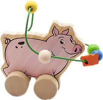 Фото Мир деревянных игрушек Лабиринт-каталка Свинья (Д367)