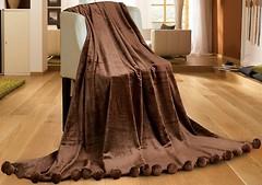 Фото Love You Меховой с бубонами 150x200 коричневый