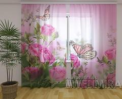 Фото Wellmira Тюль Бабочки и розовые розы 260x250
