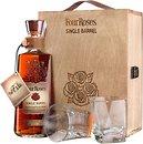 Фото Four Roses Single Barrel 0.7 л в деревянной коробке с 2 стаканами